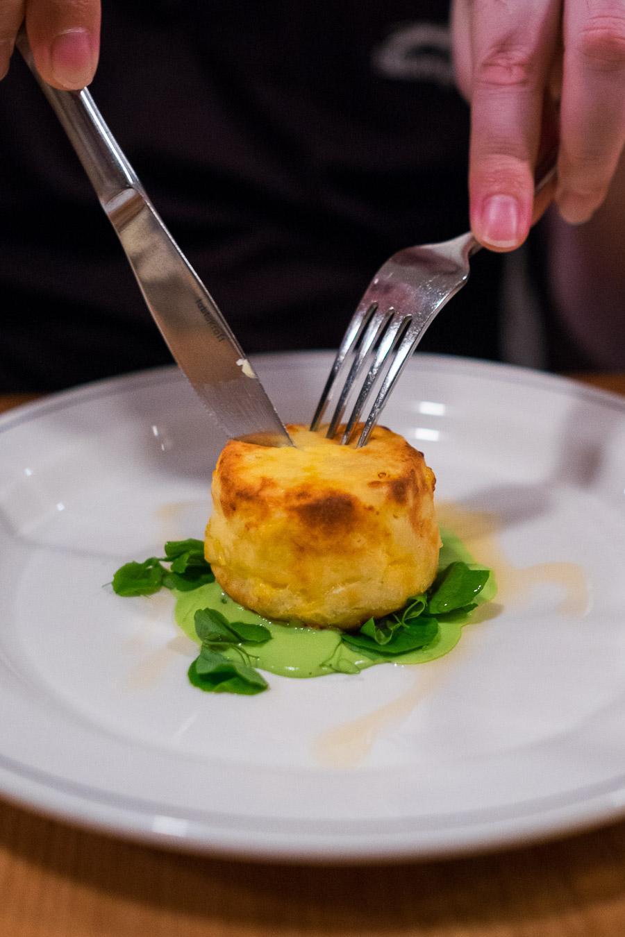 Mac 'n' cheese souffle (AU$12) with green pea and chorizo.