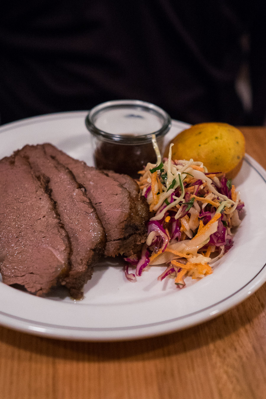 Smokey beef brisket (AU$25) with slaw, corn bread muffin and BBQ sauce.