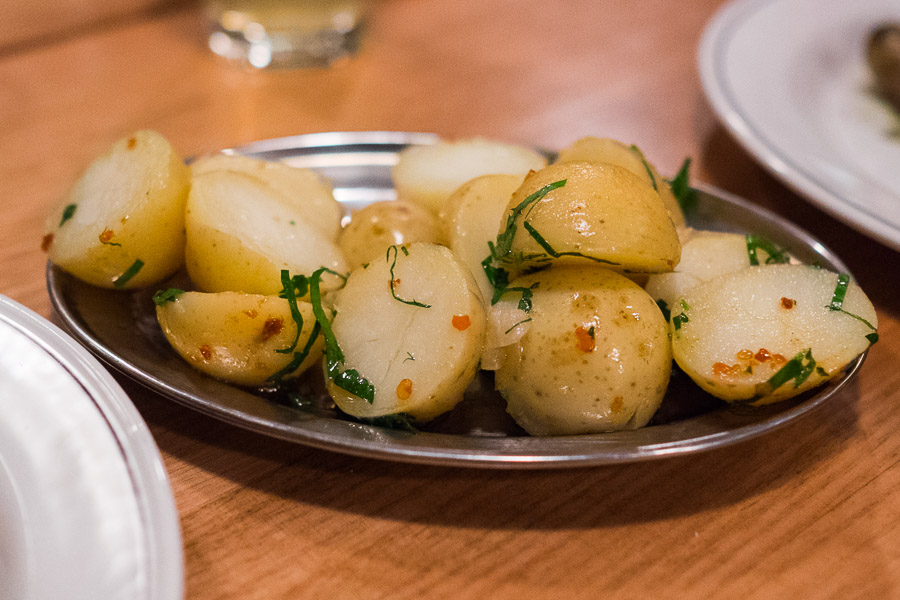 Chat potatoes, butter, chilli and lemon (AU$8)