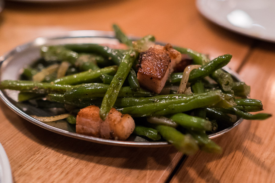 Green beans, bacon, onion and white wine (AU$9.50)