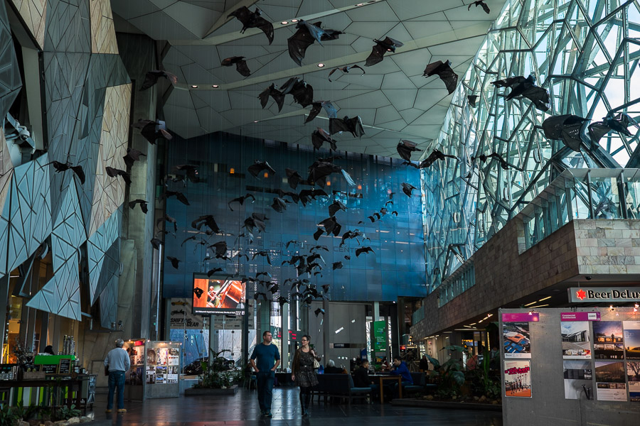 'Batmania' by Kathy Holowko at Federation Square Atrium. The installation features 200 flying bats.