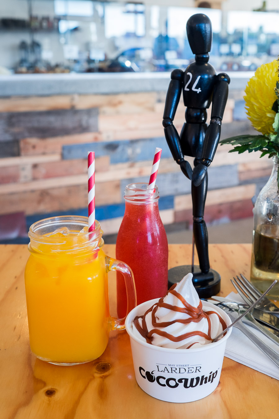 Raspberry, vanilla and lime housemade soda (AU$4), fresh organic orange juice (AU$7.50) and CocoWhip Original (AU$7) with salted caramel topping (AU$1). Stripey paper straws have twee appeal but are as impractical as they are photogenic - this one didn't last the entire jar of orange juice: liquid plus paper equals pulp.