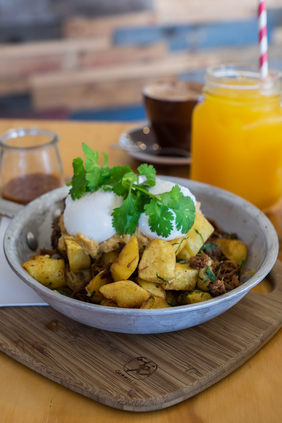 Smoked beef brisket hash (AU$26) - crispy potatoes, creamed corn, jalapenos, poached eggs and brisket BBQ sauce.
