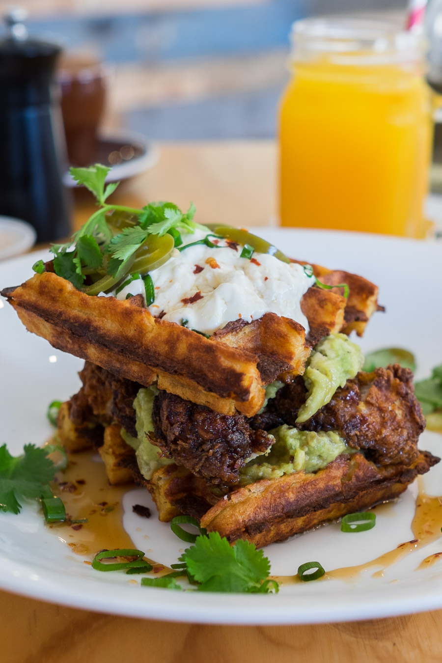 Soul sandwich (AU$22) - polenta waffles, buttermilk fried chicken, smashed avocado, smoked sour cream and jalapenos.