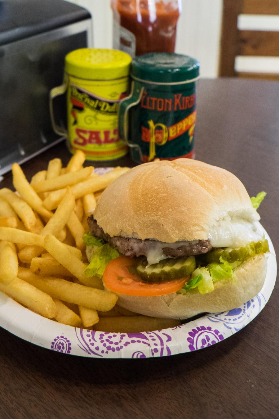 Cheeseburger and fries at Peter's Cafe.