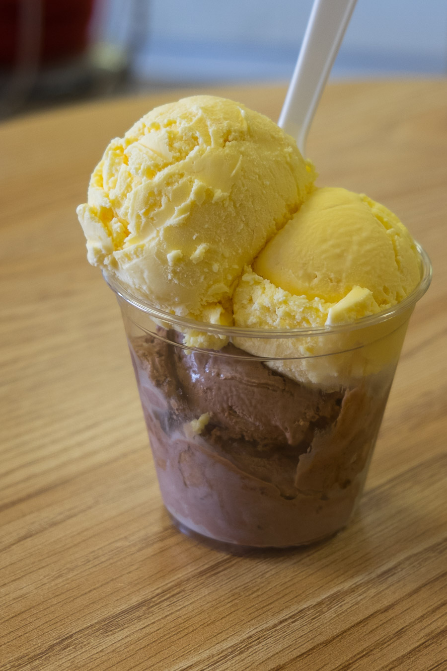 Two flavours of ice cream from Peter's Cafe - chocolate and custard.