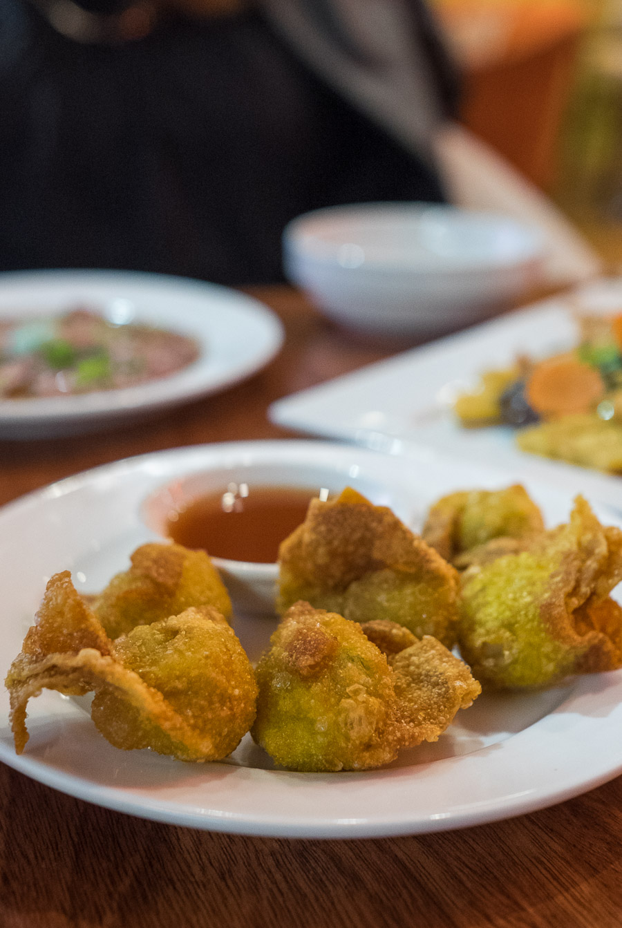 Pork and ginger wontons (AU$6.50) with sweet and sour red wine dipping sauce.