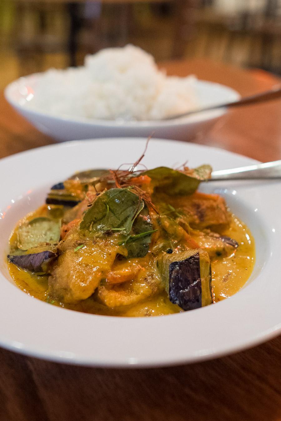 Barramundi and eggplant red curry (AU$21.50) - crispy barramundi and eggplant in dry red curry sauce with kaffir lime.