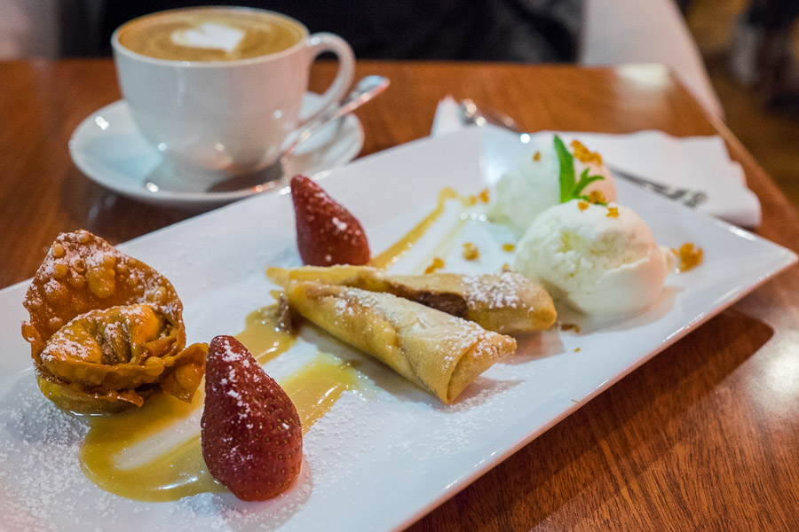 Berry, banana and white chocolate parcels with light caramel sauce (AU$7.50).
