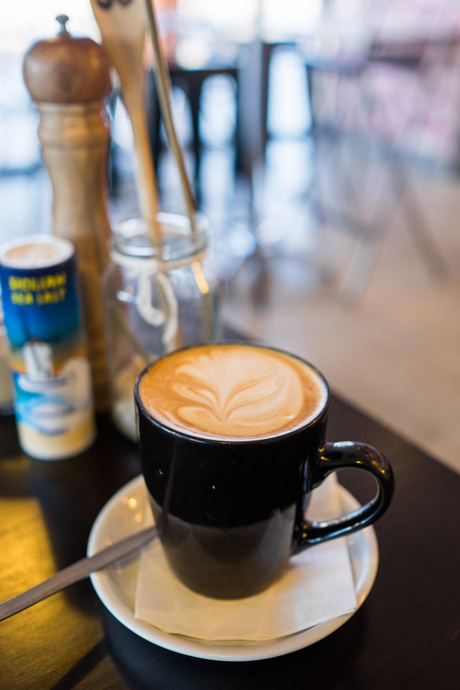 Soy flat white in a mug (mug coffee AU$5.40, soy milk  40 cents).
