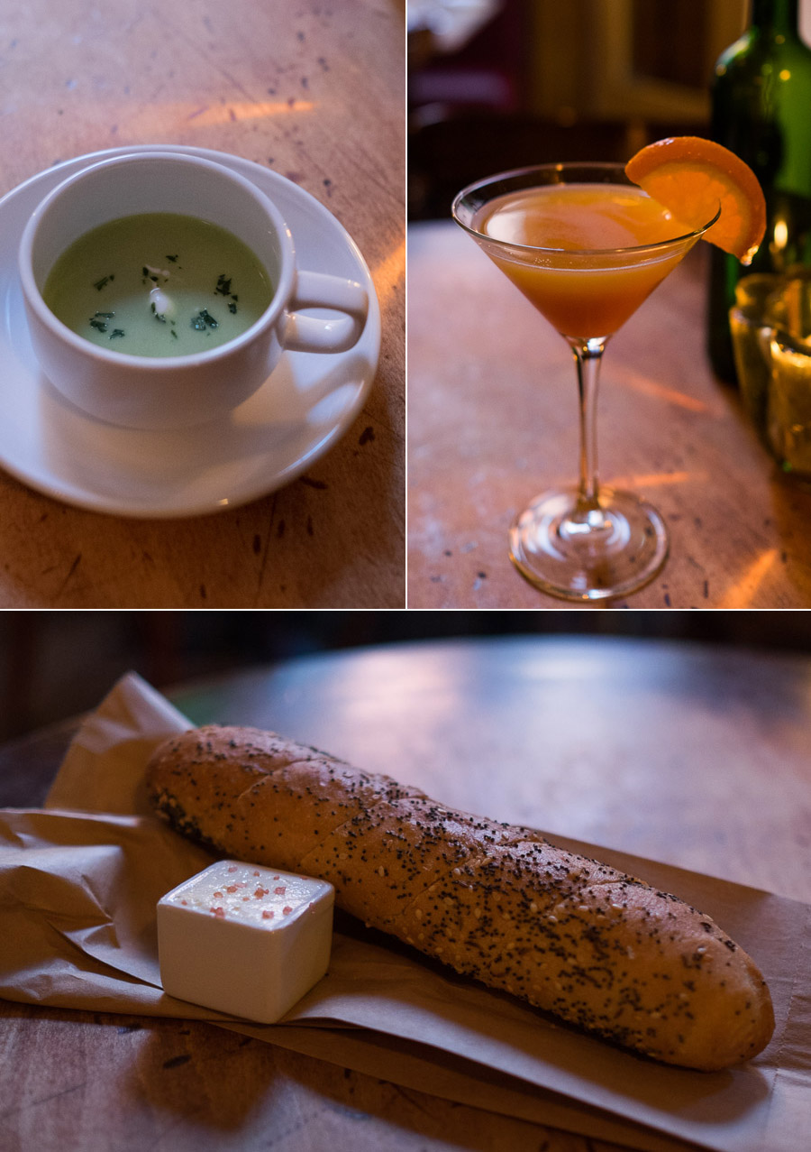 Soup, mocktail, bread