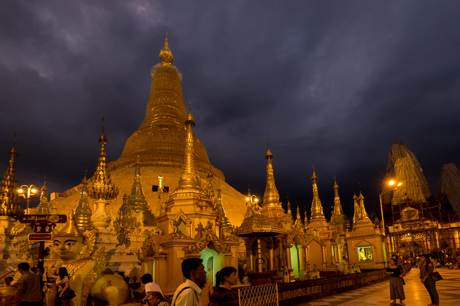 The Shwedagon Pagoda is most visually spectacular at night when it is lit up.