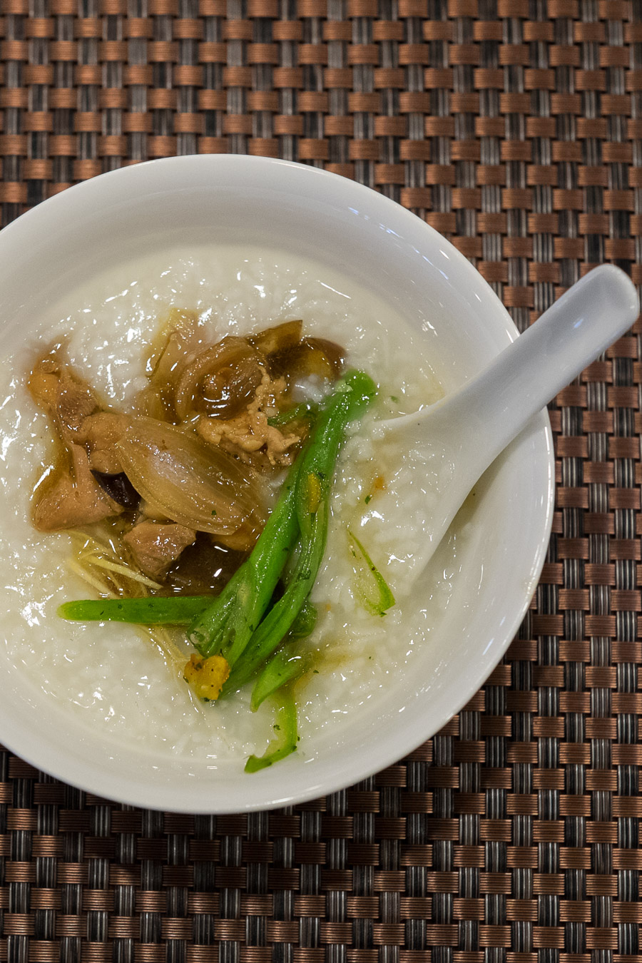 Rice porridge (congee)  with chicken and green beans