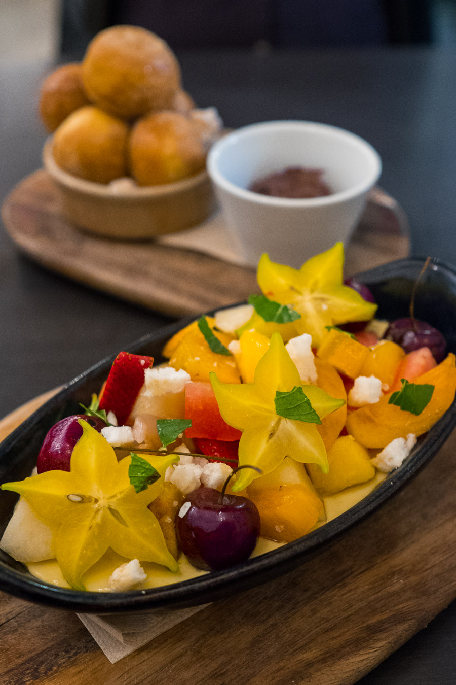 Exotic fruits, mango pannacotta, salt + vinegar crisps (AU$14)