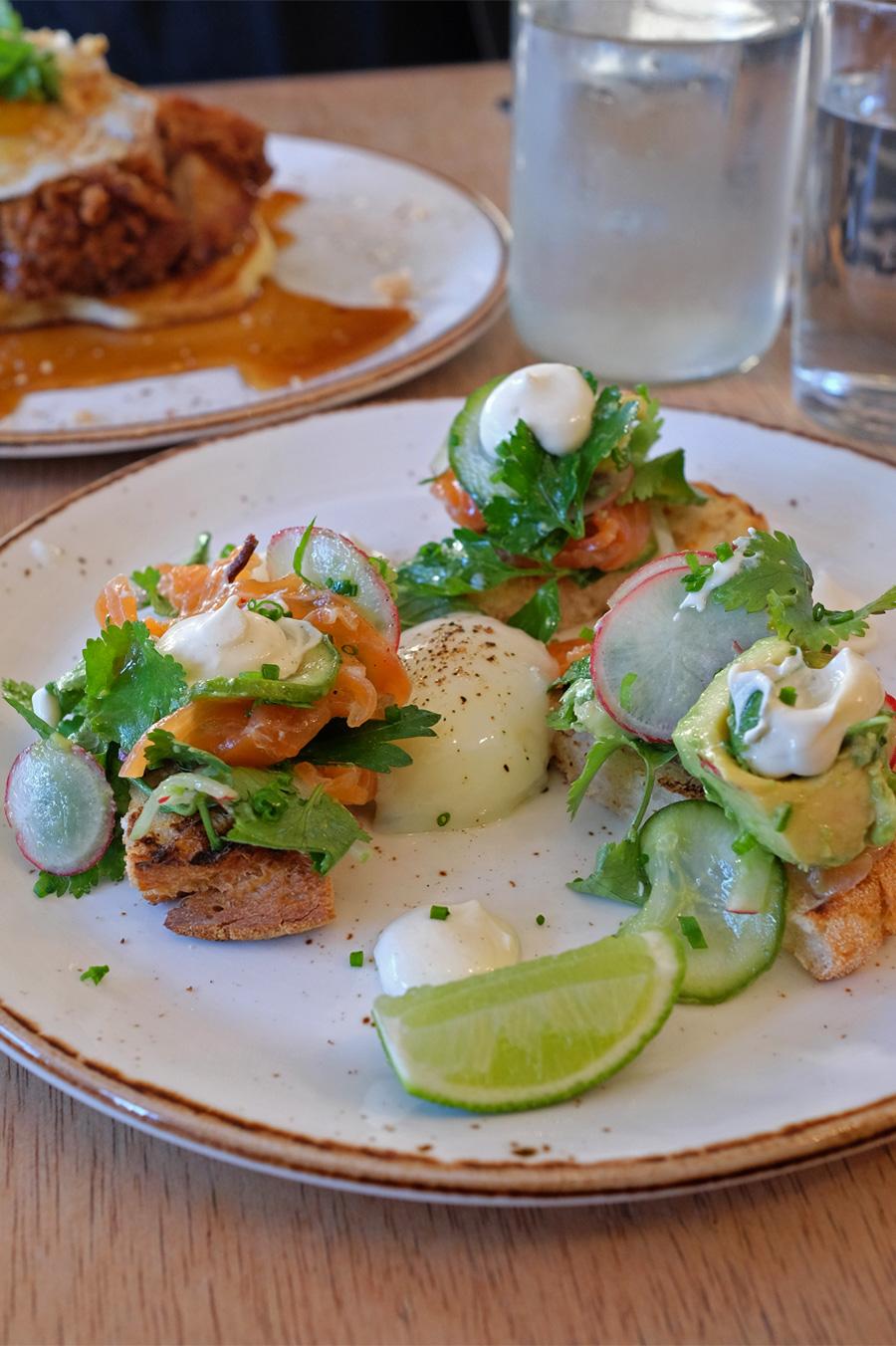 Mescal cured salmon, slow egg, avocado, jalapeno, lime, toast (AU$23)