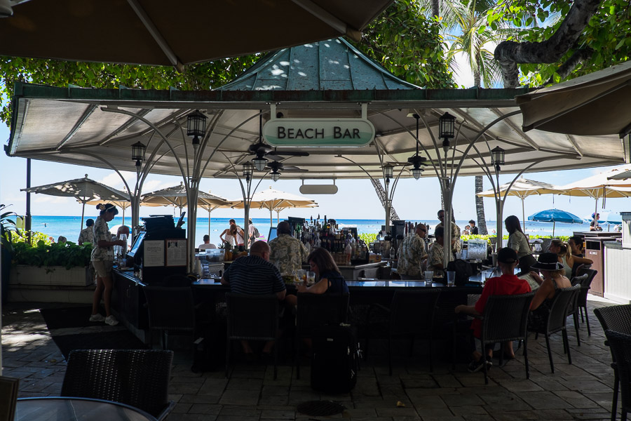 The Beach Bar under the banyan tree at The Moana
