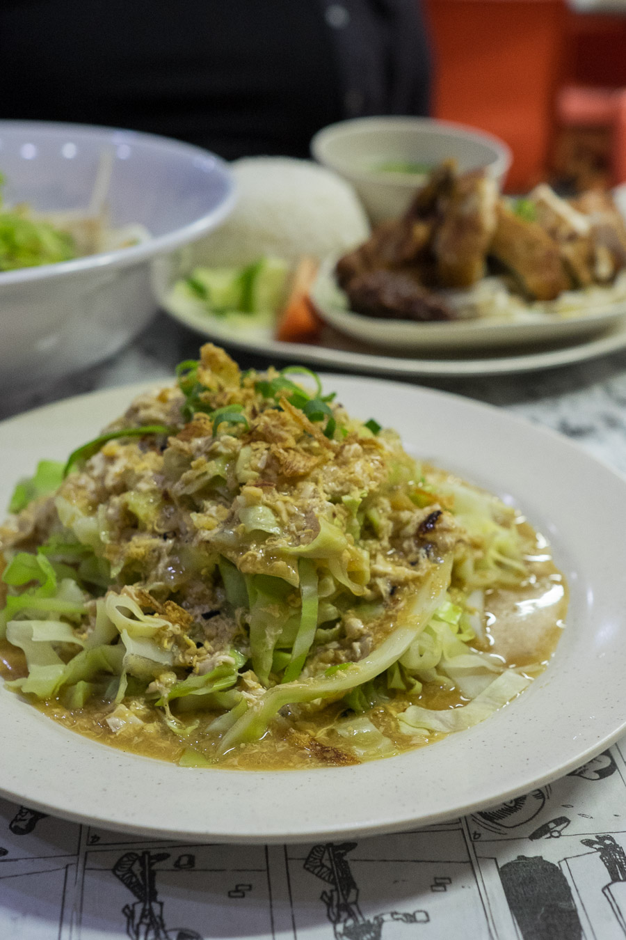 Fried cabbage with egg and chilli (AU$7.50)