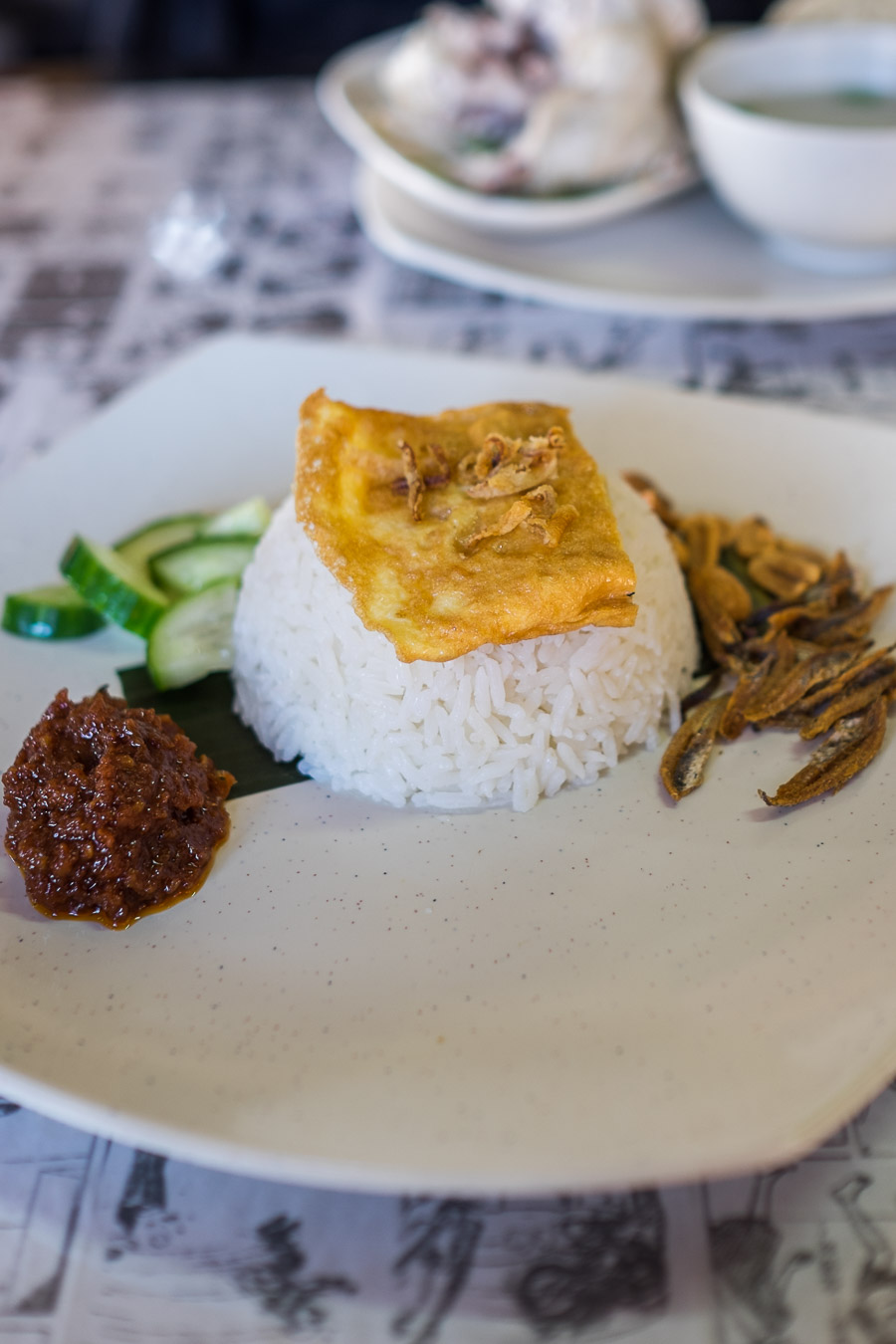 Nasi lemak with egg (AU$4.50)
