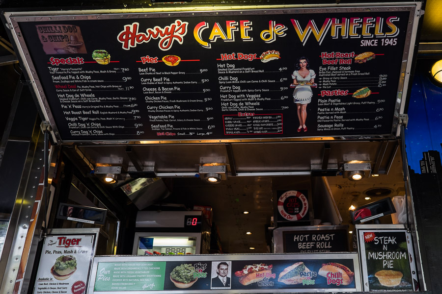The menu at Harry's Cafe de Wheels