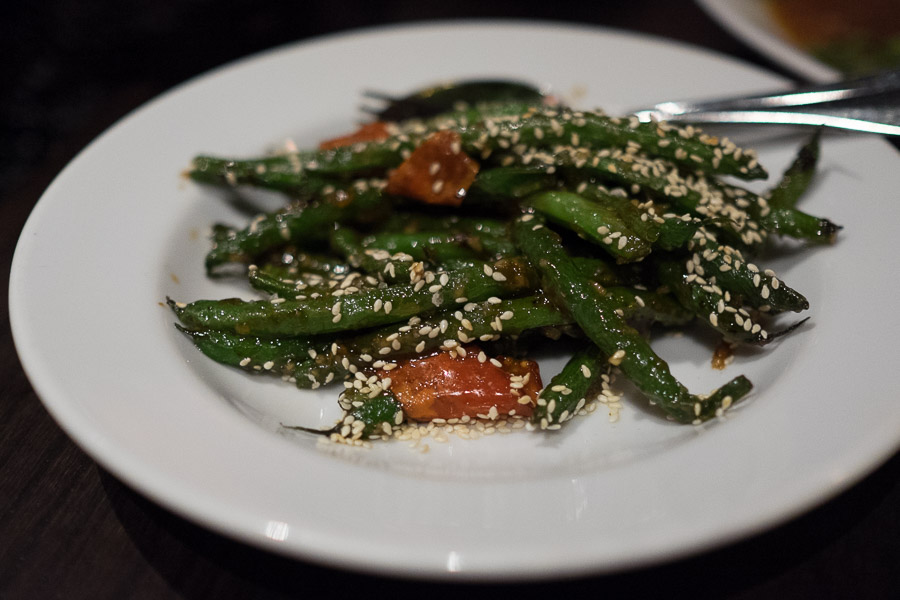 Dry-fried green beans with with miso, chilli & sesame seeds (AU$10)