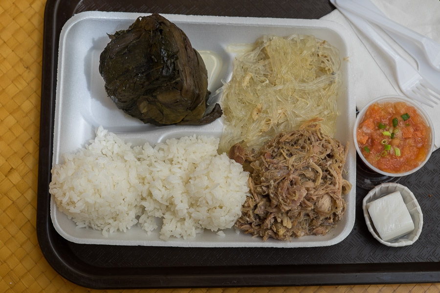 Local Boy Special - Lau Lau, Kalua Pig, Chicken Long Rice, Lomi Salmon, Haupia (US$12.25)