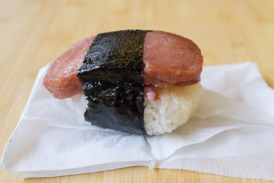 SPAM and umeboshi (sour plum)