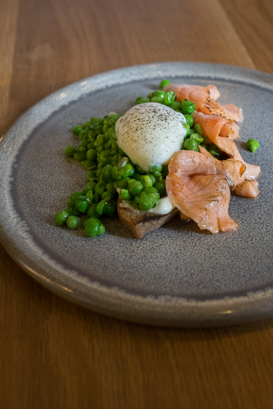 Torched ocean trout, slow egg, peas, rye