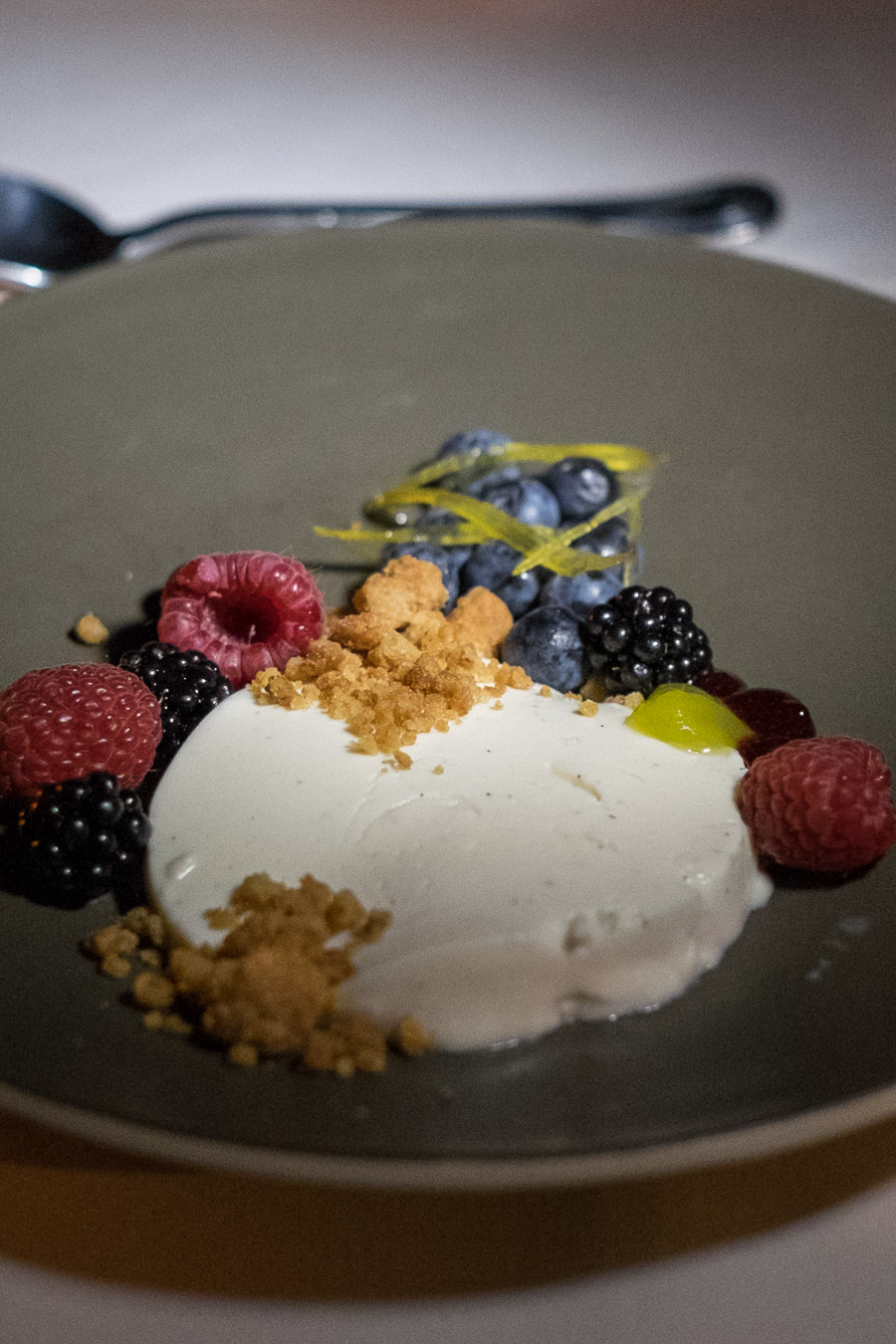 Berries and cream (US$10)  - buttermilk panna cotta, seasonal berries, lemon peel, lemon gel, Bordeaux cookie crumbles