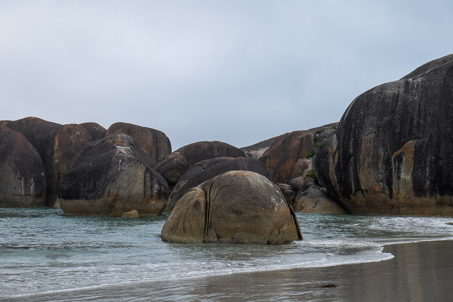 Grey morning at Elephant Cove beach. Can you see the 'baby elephant'?