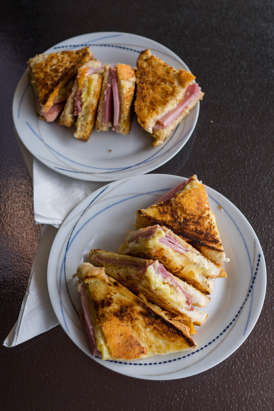 Ham, cheese and mustard toasted sandwiches