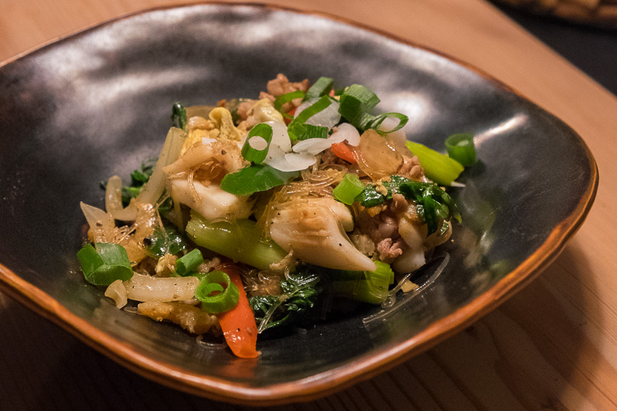 Stir-fried glass noodles with cured pork and squid