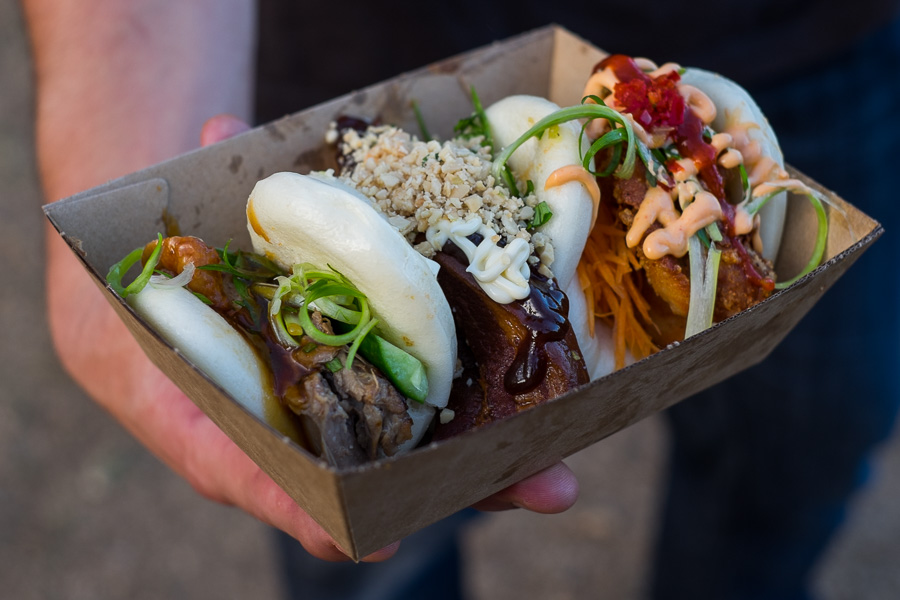 Bao Stop Trifecta - pork belly, fried chicken and Peking duck bao