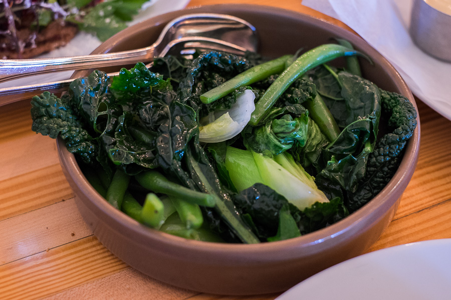 Steamed green vegetables