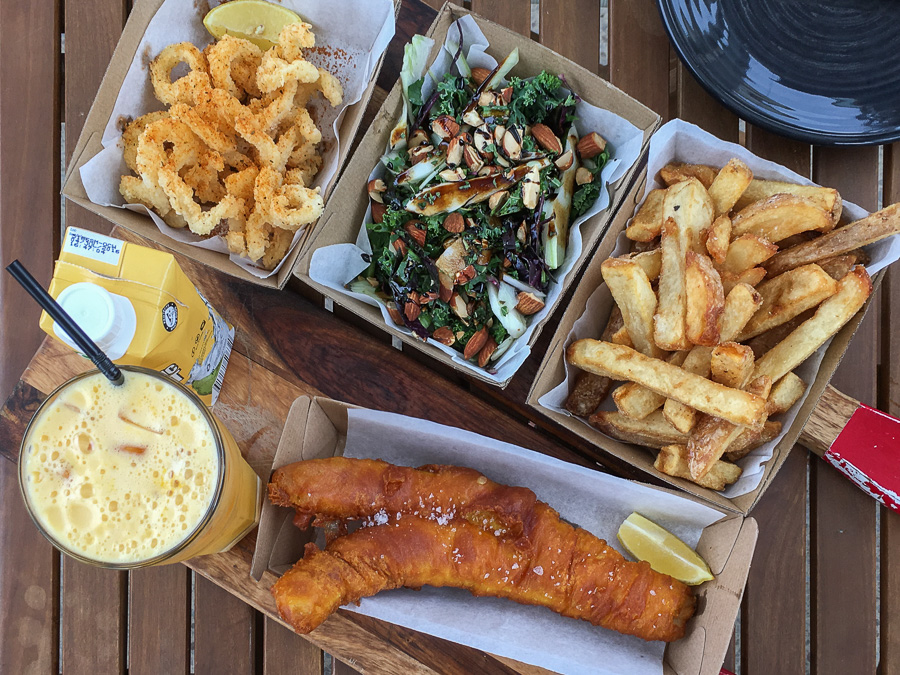 Calamari with Cuban spice, salad of the day, hand-cut chips, beer-battered flathead