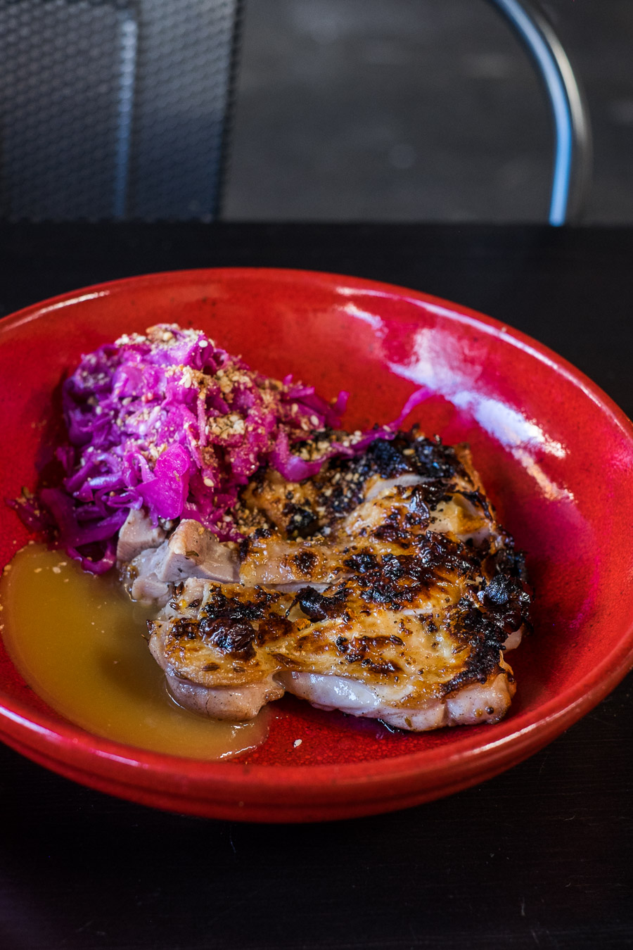 Wood-roasted chicken pieces, red cabbage, miso sauce (AU$21)