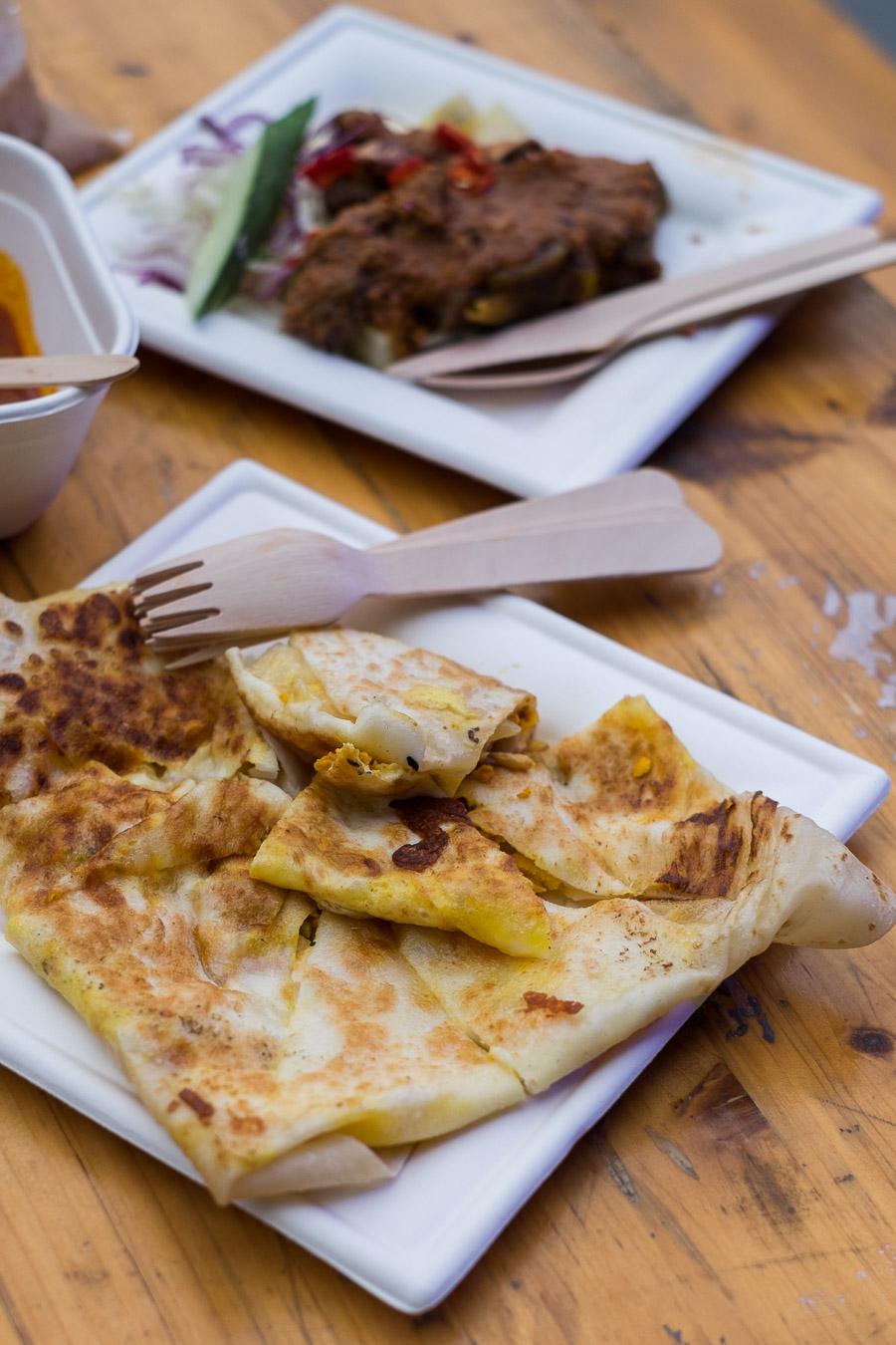 Tandoori chicken murtabak and satay ribs
