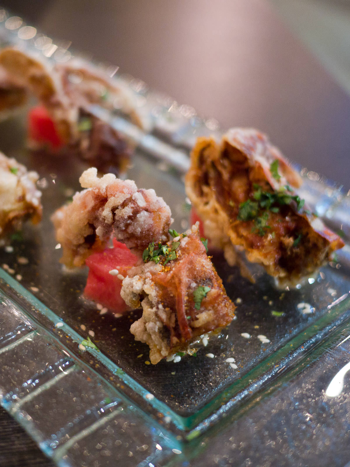 Soft shell crab with water melon