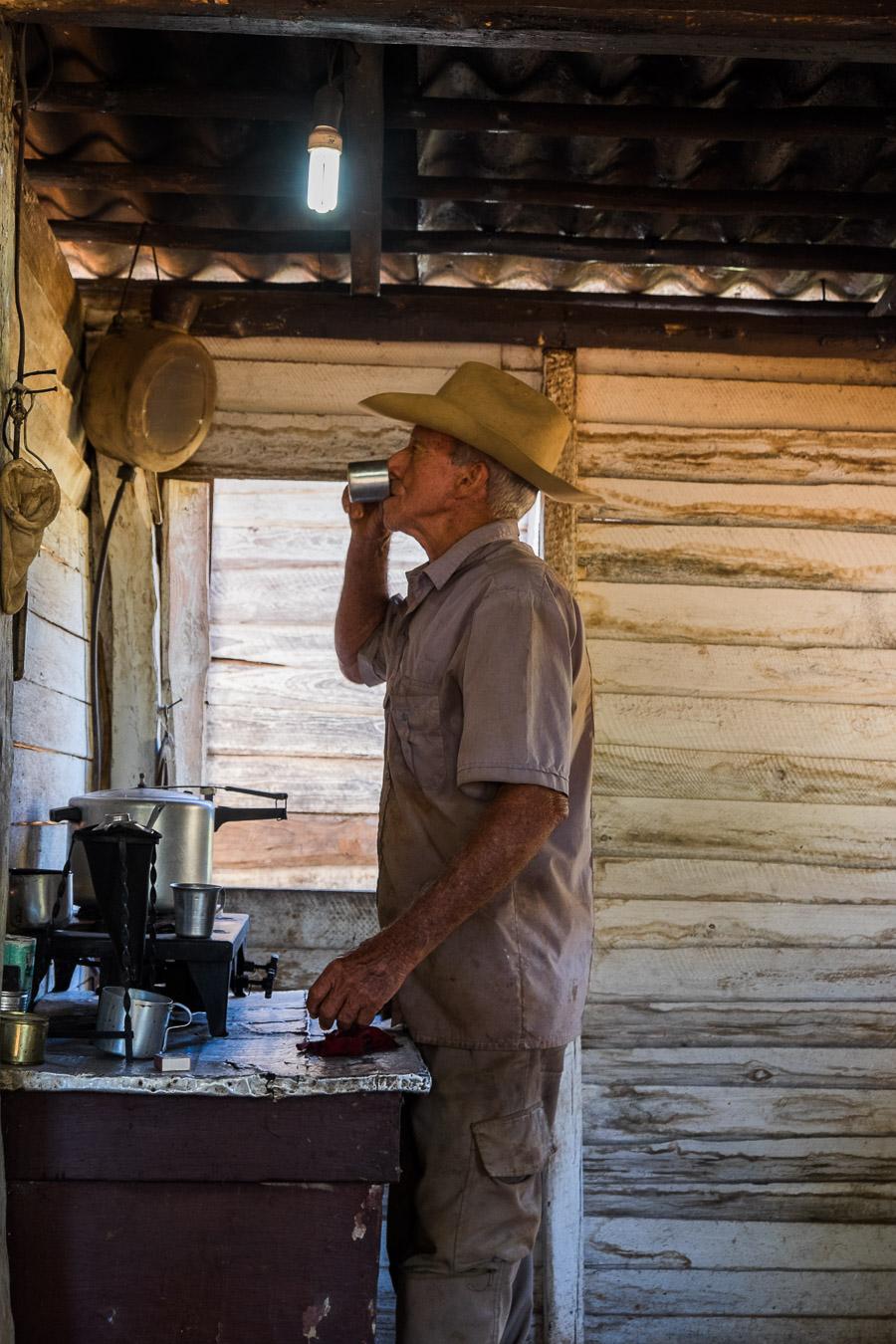 Dad drinks coffee